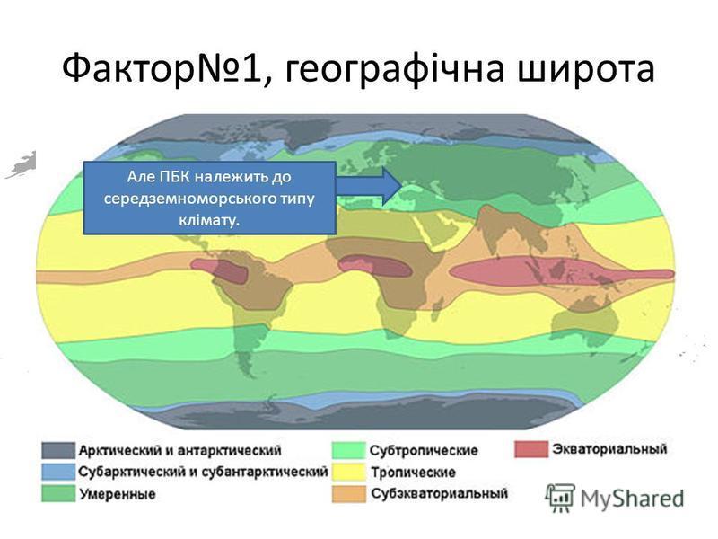 Фактор1, географічна широта Чітко видно, що Крим на належить до субтропіків. Але ПБК належить до середземноморського типу клімату.