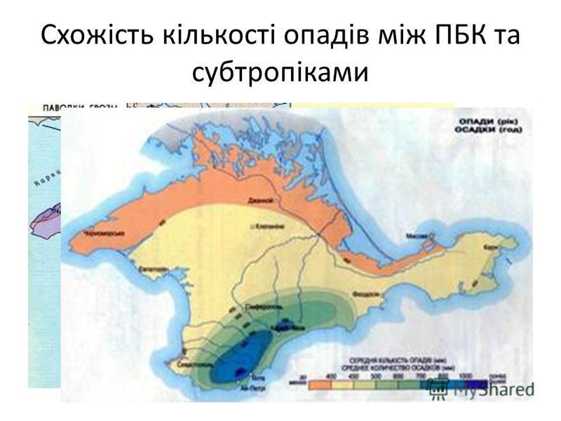 Схожість кількості опадів між ПБК та субтропіками