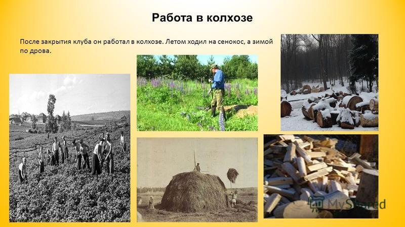 Работа в колхозе После закрытия клуба он работал в колхозе. Летом ходил на сенокос, а зимой по дрова.