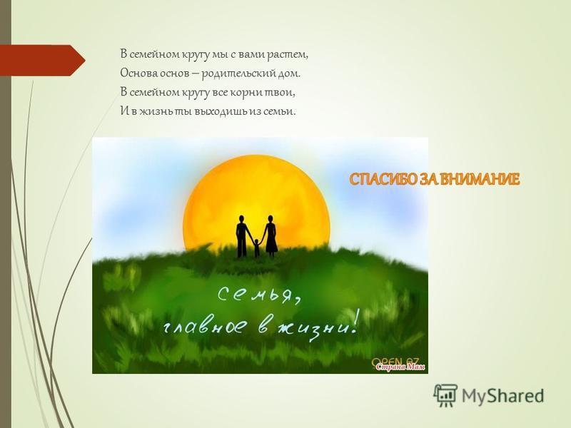 В семейном кругу мы с вами растем, Основа основ – родительский дом. В семейном кругу все корни твои, И в жизнь ты выходишь из семьи.