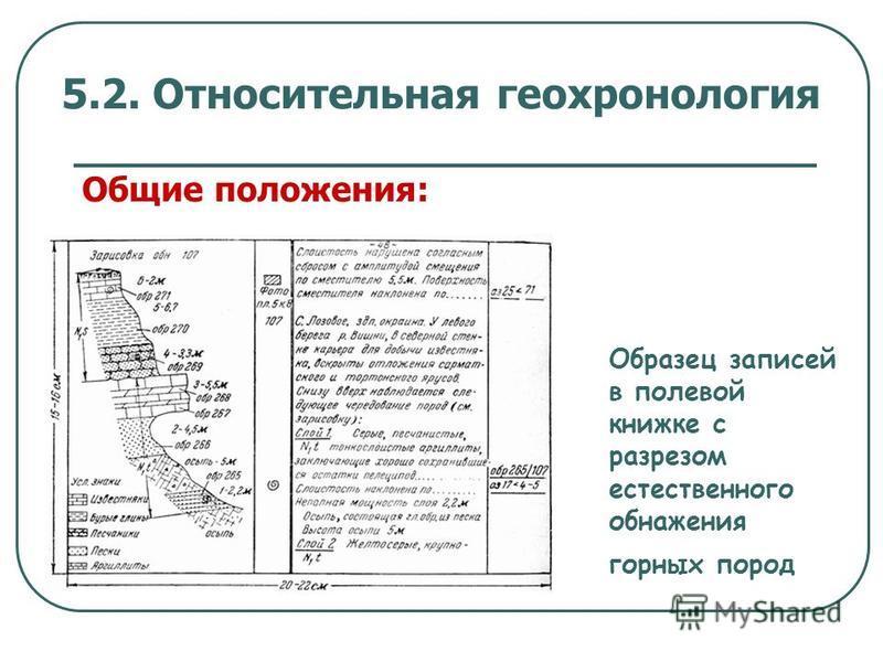 5.2. Относительная геохронология Общие положения: Образец записей в полевой книжке с разрезом естественного обнажения горных пород