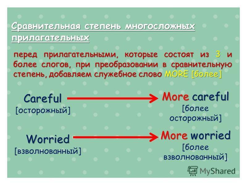 Сравнительная степень многосложных прилагательных перед прилагательными, которые состоят из 3 и более слогов, при преобразовании в сравнительную степень, добавляем служебное слово MORE [более] Careful [осторожный] More careful [более осторожный] Worr