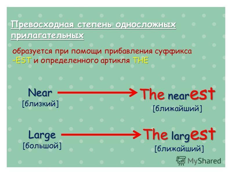 Превосходная степень односложных прилагательных образуется при помощи прибавления суффикса –ESTTHE –EST и определенного артикля THE Near [близкий] The near est [ближайший] Large [большой] The larg est [ближайший]