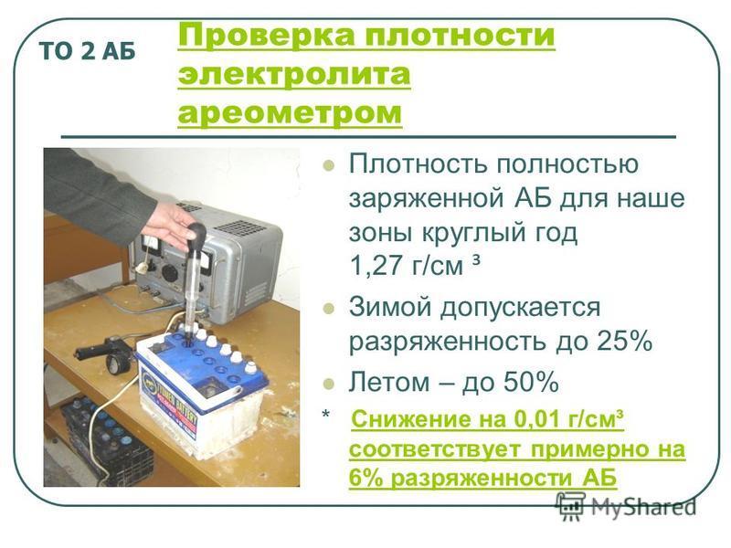 Проверка плотности электролита ареометром Плотность полностью заряженной АБ для наше зоны круглый год 1,27 г/см ³ Зимой допускается разряженность до 25% Летом – до 50% * Снижение на 0,01 г/см³ соответствует примерно на 6% разряженности АБСнижение на