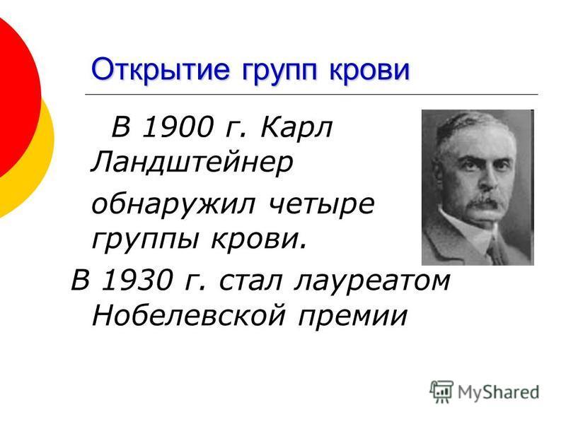 Открытие групп крови В 1900 г. Карл Ландштейнер обнаружил четыре группы крови. В 1930 г. стал лауреатом Нобелевской премии