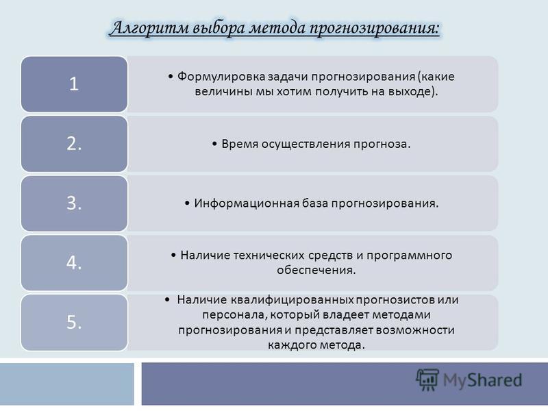 Формулировка задачи прогнозирования ( какие величины мы хотим получить на выходе ). 1 Время осуществления прогноза. 2. Информационная база прогнозирования. 3. Наличие технических средств и программного обеспечения. 4. Наличие квалифицированных прогно