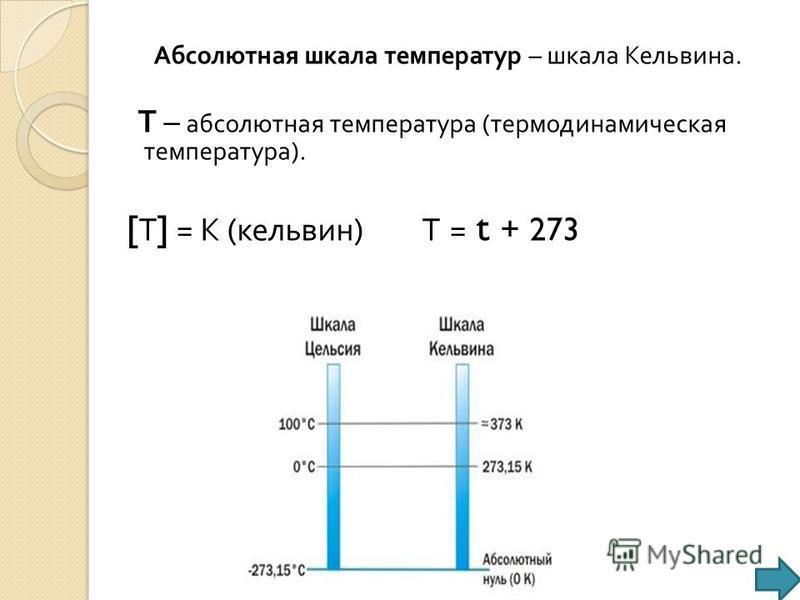 Абсолютная шкала температур – шкала Кельвина. Т – абсолютная температура ( термодинамическая температура ). [ Т ] = К ( кельвин ) Т = t + 273