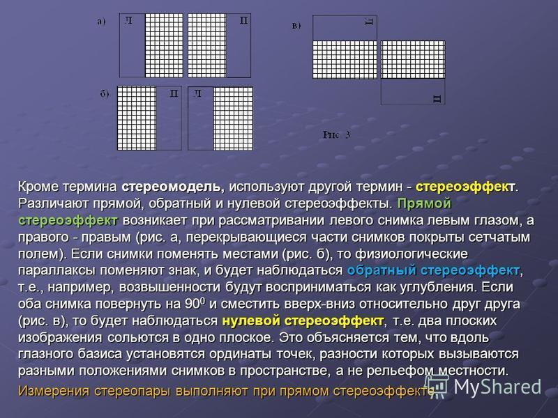 Кроме термина стереомодель, используют другой термин - стереоэффект. Различают прямой, обратный и нулевой стереоэффекты. Прямой стереоэффект возникает при рассматривании левого снимка левым глазом, а правого - правым (рис. а, перекрывающиеся части сн