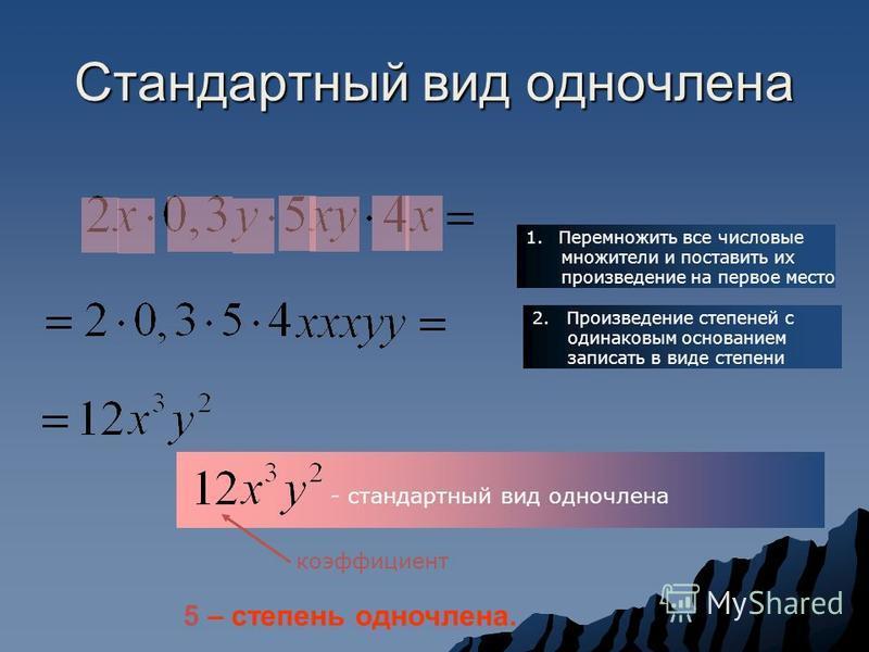 Стандартный вид одночлена 1. Перемножить все числовые множители и поставить их произведение на первое место 2. Произведение степеней с одинаковым основанием записать в виде степени - стандартный вид одночлена коэффициент 5 – степень одночлена.