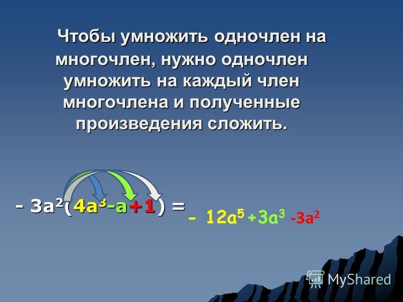 Чтобы умножить одночлен на многочлен, нужно одночлен умножить на каждый член многочлена и полученные произведения сложить. - 3 а 2 (4 а 3 -а+1) = - 12 а 5 +3 а 3 -3 а 2