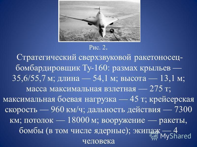 Рис. 2. Стратегический сверхзвуковой ракетоносец- бомбардировщик Ту-160: размах крыльев 35,6/55,7 м; длина 54,1 м; высота 13,1 м; масса максимальная взлетная 275 т; максимальная боевая нагрузка 45 т; крейсерская скорость 960 км/ч; дальность действия