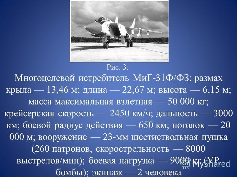 Рис. 3. Многоцелевой истребитель МиГ-31Ф/ФЗ: размах крыла 13,46 м; длина 22,67 м; высота 6,15 м; масса максимальная взлетная 50 000 кг; крейсерская скорость 2450 км/ч; дальность 3000 км; боевой радиус действия 650 км; потолок 20 000 м; вооружение 23-