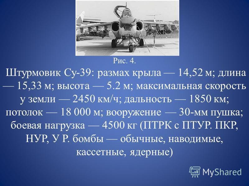 Рис. 4. Штурмовик Су-39: размах крыла 14,52 м; длина 15,33 м; высота 5.2 м; максимальная скорость у земли 2450 км/ч; дальность 1850 км; потолок 18 000 м; вооружение 30-мм пушка; боевая нагрузка 4500 кг (ПТРК с ПТУР. ПКР, НУР, У Р. бомбы обычные, наво