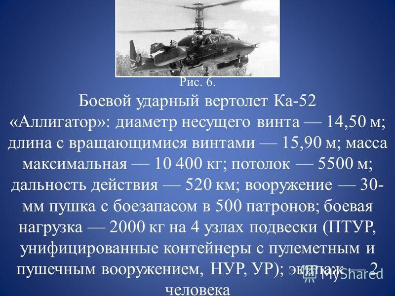 Рис. 6. Боевой ударный вертолет Ка-52 «Аллигатор»: диаметр несущего винта 14,50 м; длина с вращающимися винтами 15,90 м; масса максимальная 10 400 кг; потолок 5500 м; дальность действия 520 км; вооружение 30- мм пушка с боезапасом в 500 патронов; бое