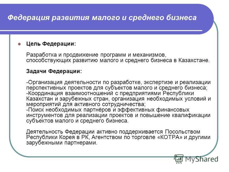 Федерация развития малого и среднего бизнеса Цель Федерации: Разработка и продвижение программ и механизмов, способствующих развитию малого и среднего бизнеса в Казахстане. Задачи Федерации: -Организация деятельности по разработке, экспертизе и реали