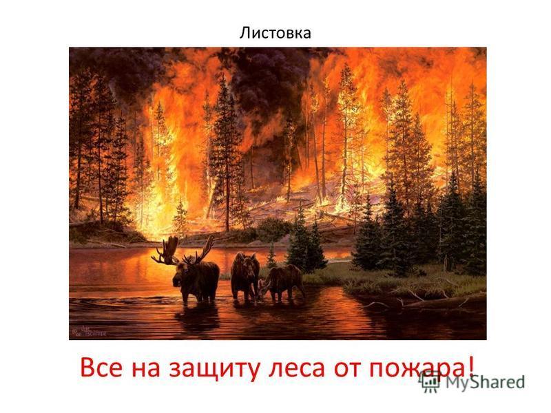 Листовка Все на защиту леса от пожара!