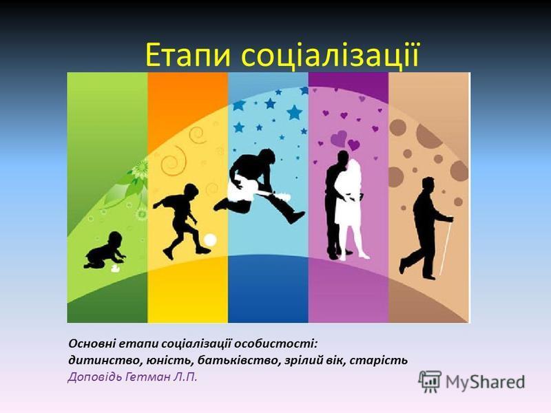 Етапи соціалізації Основні етапи соціалізації особистості: дитинство, юність, батьківство, зрілий вік, старість Доповідь Гетман Л.П.