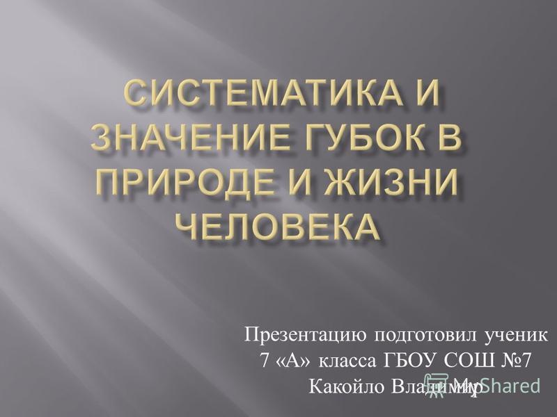 Презентацию подготовил ученик 7 « А » класса ГБОУ СОШ 7 Какойло Владимир