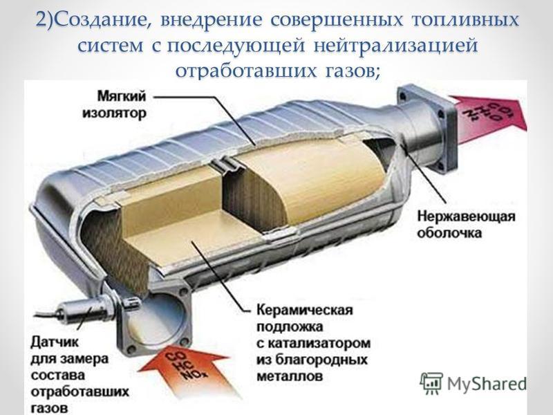 2)Создание, внедрение совершенных топливных систем с последующей нейтрализацией отработавших газов;