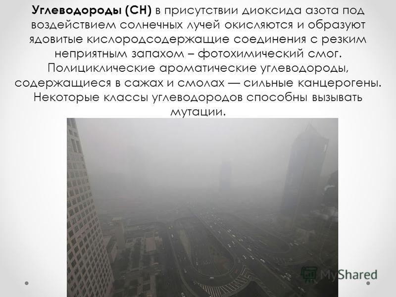 Углеводороды (СН) в присутствии диоксида азота под воздействием солнечных лучей окисляются и образуют ядовитые кислородсодержащие соединения с резким неприятным запахом – фотохимический смог. Полициклические ароматические углеводороды, содержащиеся в