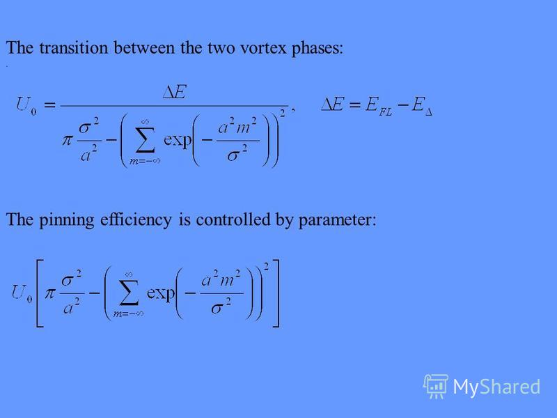 The transition between the two vortex phases:. The pinning efficiency is controlled by parameter:
