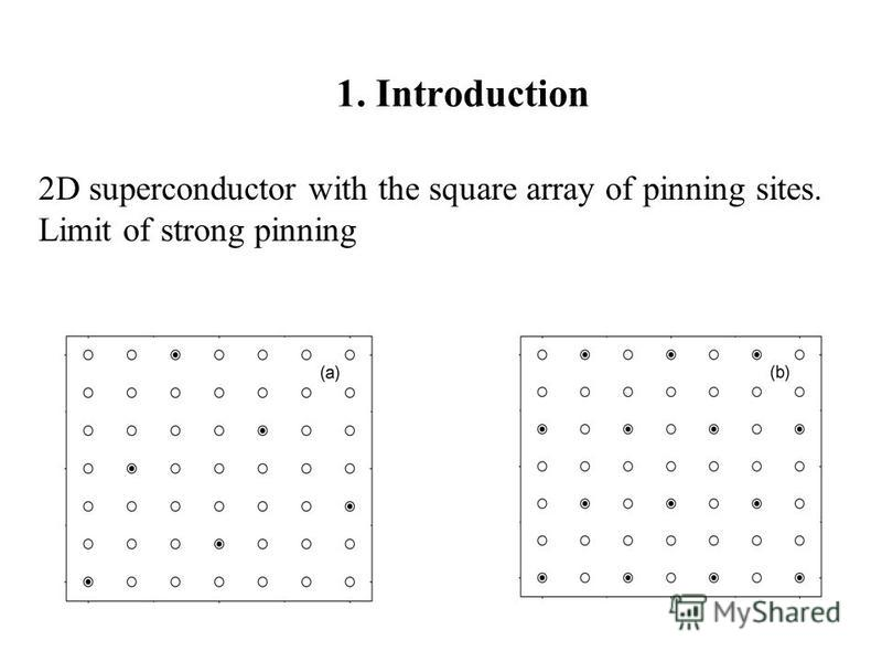 1. Introduction 2D superconductor with the square array of pinning sites. Limit of strong pinning