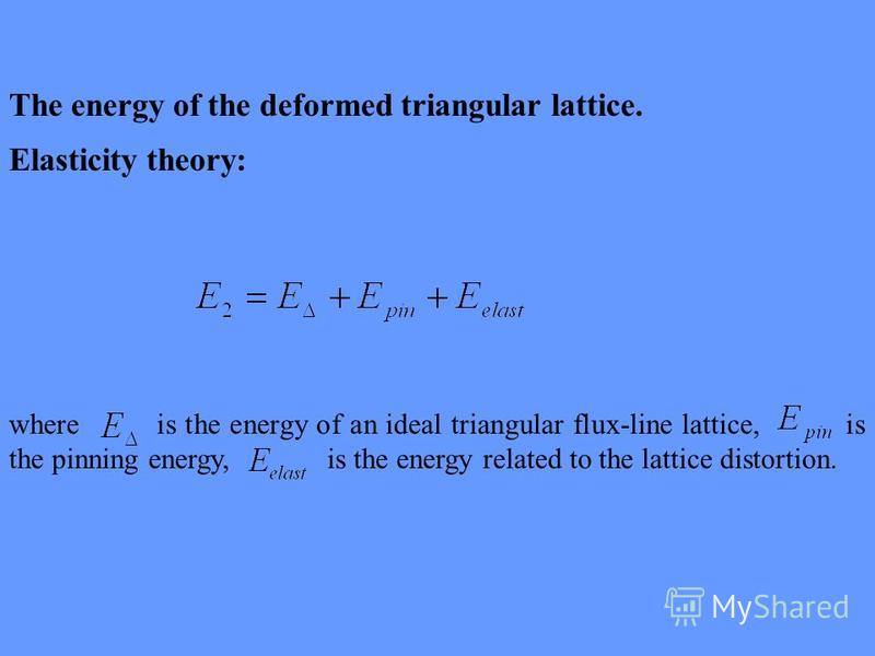 The energy of the deformed triangular lattice. Elasticity theory: where is the energy of an ideal triangular flux-line lattice, is the pinning energy, is the energy related to the lattice distortion.