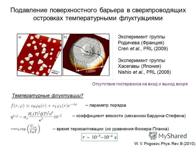 Подавление поверхностного барьера в сверхпроводящих островках температурными флуктуациями Отсутствие гистерезиса на вход и выход вихря Эксперимент группы Родичева (Франция) Cren et al., PRL (2009) Эксперимент группы Хасегавы (Япония) Nishio et al., P