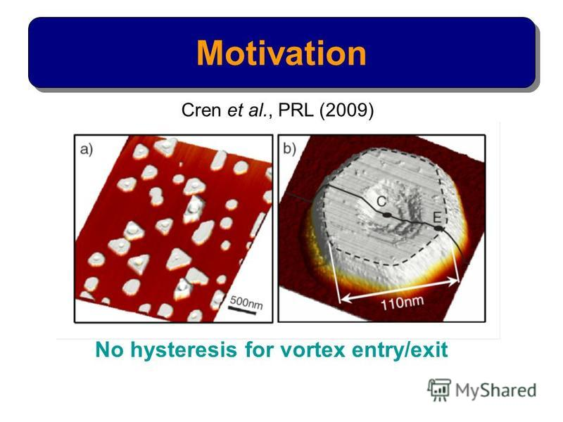 Motivation No hysteresis for vortex entry/exit Cren et al., PRL (2009)