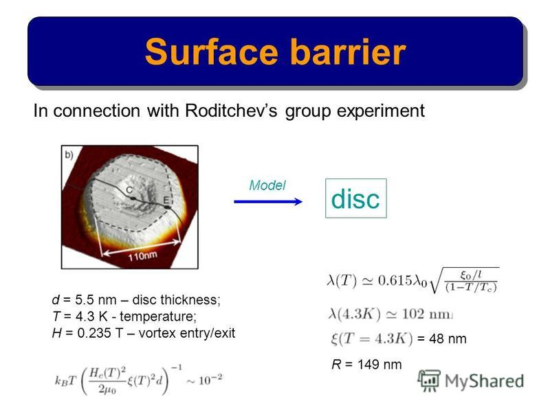 In connection with Roditchevs group experiment Surface barrier disc Model d = 5.5 nm – disc thickness; T = 4.3 K - temperature; H = 0.235 T – vortex entry/exit = 48 nm R = 149 nm