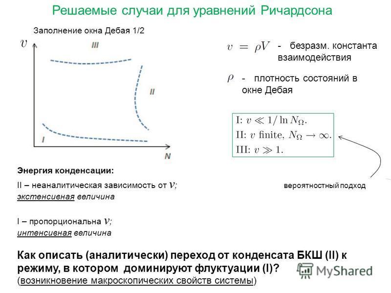 Энергия конденсации: II – неаналитическая зависимость от v ; экстенсивная величина I – пропорциональна v ; интенсивная величина Как описать (аналитически) переход от конденсата БКШ (II) к режиму, в котором доминируют флуктуации (I)? (возникновение ма