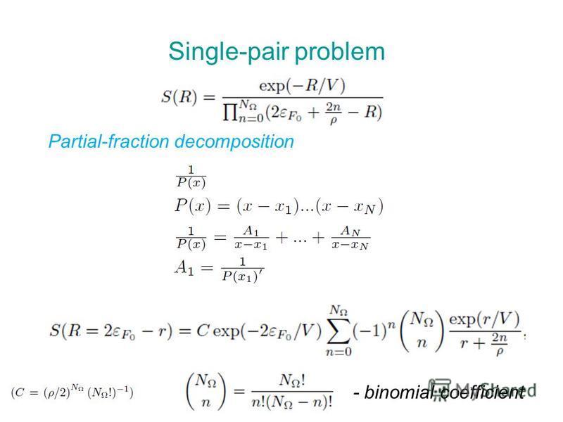 Single-pair problem Partial-fraction decomposition - binomial coefficient