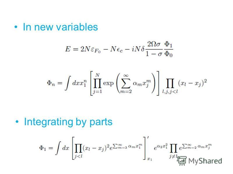 In new variables Integrating by parts