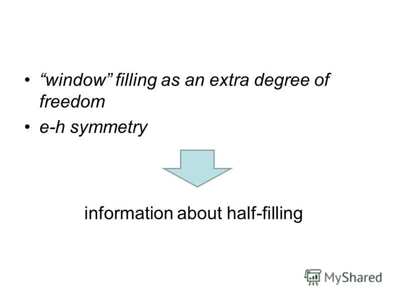 window filling as an extra degree of freedom e-h symmetry information about half-filling