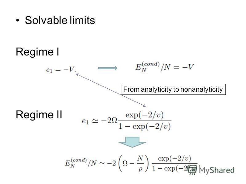 Solvable limits Regime I Regime II From analyticity to nonanalyticity