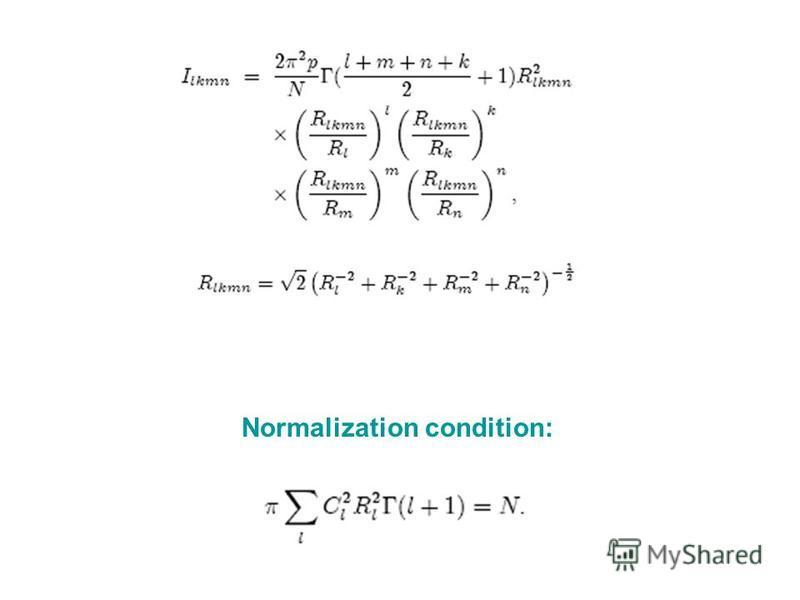 Normalization condition: