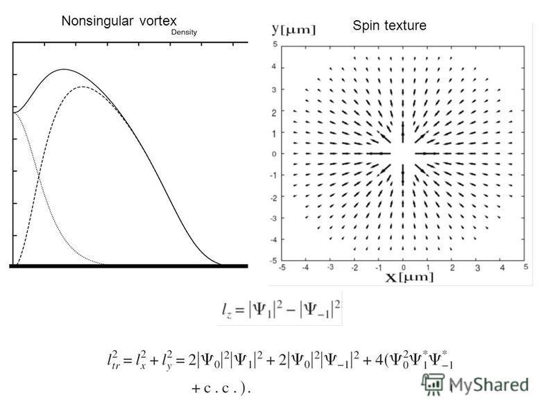 Nonsingular vortex Spin texture