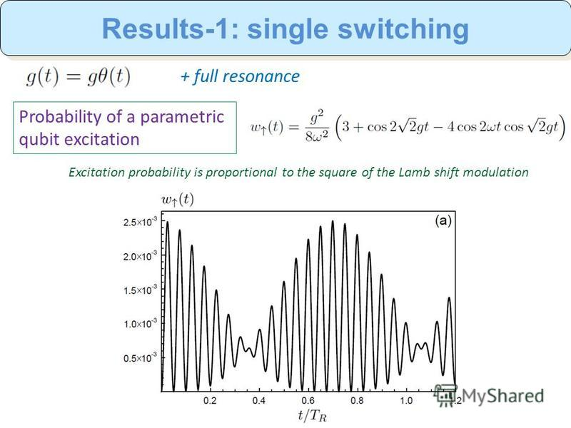 + full resonance Probability of a parametric qubit excitation Results-1: single switching Excitation probability is proportional to the square of the Lamb shift modulation