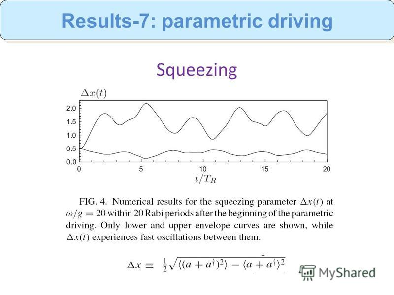 Squeezing Results-7: parametric driving