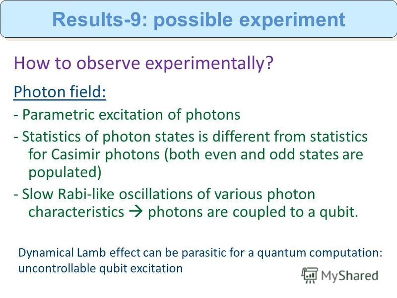 How to observe experimentally? Photon field: - Parametric excitation of photons - Statistics of photon states is different from statistics for Casimir photons (both even and odd states are populated) - Slow Rabi-like oscillations of various photon ch