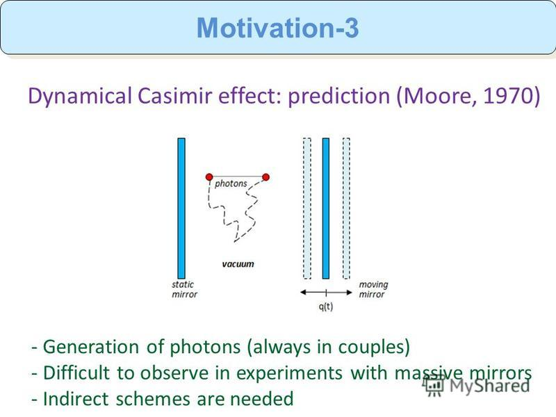 Motivation-3 Dynamical Casimir effect: prediction (Moore, 1970) - Generation of photons (always in couples) - Difficult to observe in experiments with massive mirrors - Indirect schemes are needed