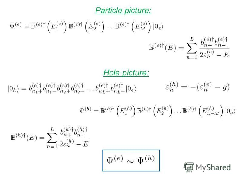 Particle picture: Hole picture: