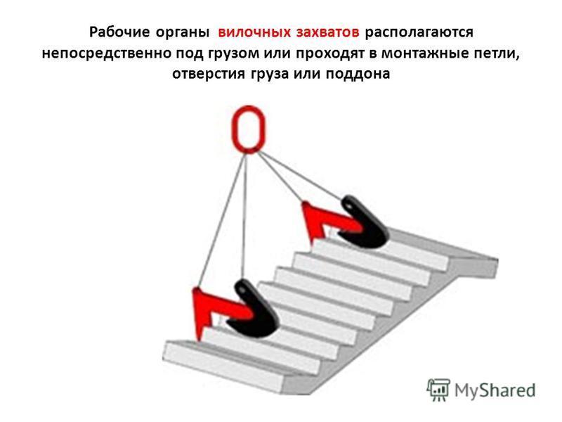 Рабочие органы вилочных захватов располагаются непосредственно под грузом или проходят в монтажные петли, отверстия груза или поддона