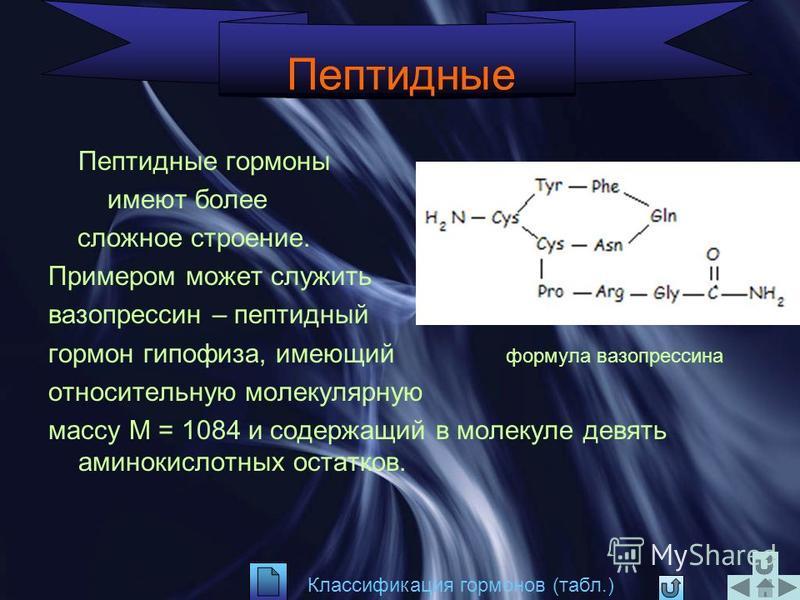 Производные аминокислот Молекулы этих гормонов содержат аминогруппу или ее производные, а молекула тироксина также содержит и карбоксильную группу, т.е. является ά-аминокислотой и проявляет все характерные для аминокислот свойства Классификация гормо