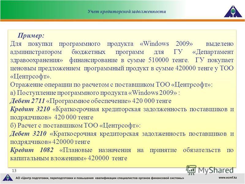 13 Пример: Для покупки программного продукта «Windows 2009» выделено администратором бюджетных программ для ГУ «Департамент здравоохранения» финансирование в сумме 510000 тенге. ГУ покупает ценовым предложением программный продукт в сумме 420000 тенг