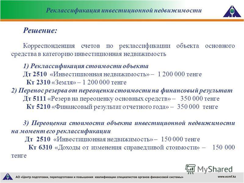 Решение: Корреспонденция счетов по реклассификации объекта основного средства в категорию инвестиционная недвижимость 1) Реклассификация стоимости объекта Дт 2510 «Инвестиционная недвижимость» – 1 200 000 тенге Кт 2310 «Земля» – 1 200 000 тенге 2) Пе