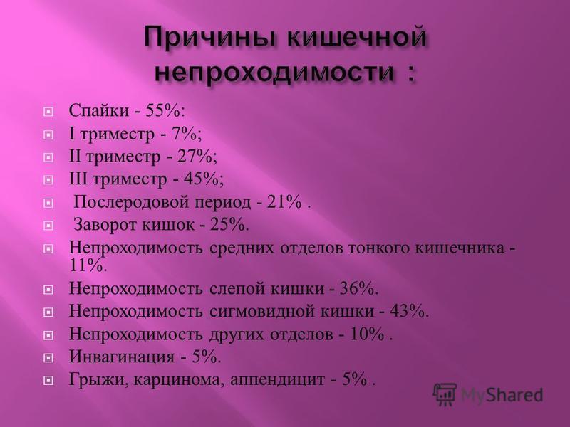 Спайки - 55%: I триместр - 7%; II триместр - 27%; III триместр - 45%; Послеродовой период - 21%. Заворот кишок - 25%. Непроходимость средних отделов тонкого кишечника - 11%. Непроходимость слепой кишки - 36%. Непроходимость сигмовидной кишки - 43%. Н