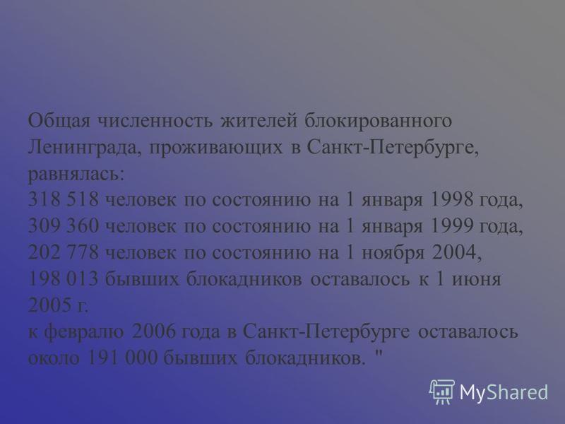 Общая численность жителей блокированного Ленинграда, проживающих в Санкт-Петербурге, равнялась: 318 518 человек по состоянию на 1 января 1998 года, 309 360 человек по состоянию на 1 января 1999 года, 202 778 человек по состоянию на 1 ноября 2004, 198