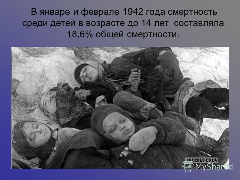 В январе и феврале 1942 года смертность среди детей в возрасте до 14 лет составляла 18,6% общей смертности.