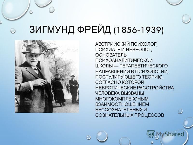 ЗИГМУНД ФРЕЙД (1856-1939) АВСТРИЙСКИЙ ПСИХОЛОГ, ПСИХИАТР И НЕВРОЛОГ, ОСНОВАТЕЛЬ ПСИХОАНАЛИТИЧЕСКОЙ ШКОЛЫ ТЕРАПЕВТИЧЕСКОГО НАПРАВЛЕНИЯ В ПСИХОЛОГИИ, ПОСТУЛИРУЮЩЕГО ТЕОРИЮ, СОГЛАСНО КОТОРОЙ НЕВРОТИЧЕСКИЕ РАССТРОЙСТВА ЧЕЛОВЕКА ВЫЗВАНЫ МНОГОКОМПЛЕКСНЫМ В